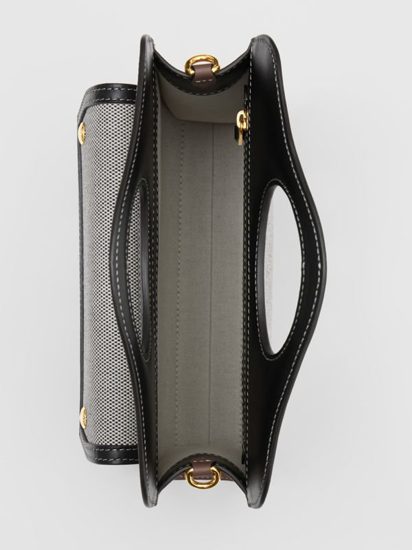 Mini Tri-tone Canvas and Leather Pocket Bag in Black/tan - Women | Burberry - cell image 2