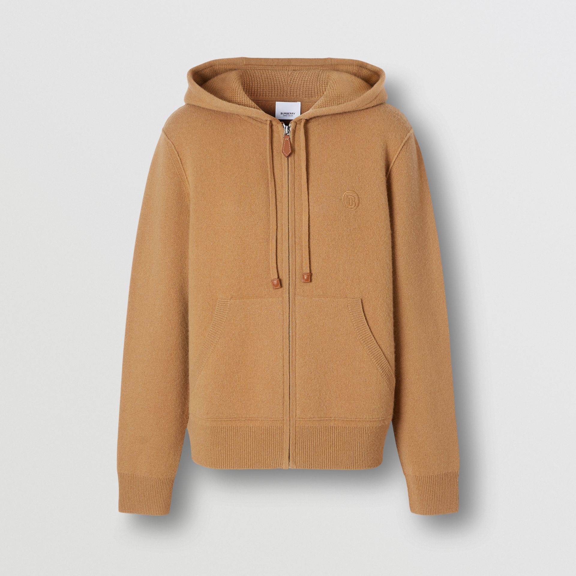 Blusa com capuz de cashmere com monograma (Camel) - Mulheres | Burberry - galeria de imagens 3