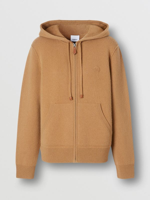 Monogram Motif Cashmere Blend Hooded Top in Camel - Women | Burberry - cell image 3