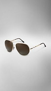 Polarised Check Arm Aviator Sunglasses