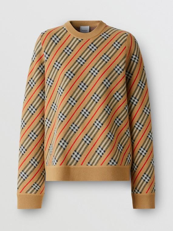 Pullover in misto lana Merino con motivo a righe (Cammello)