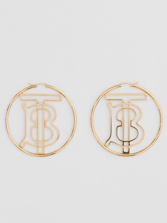 Gold-plated Monogram Motif Hoop Earrings in Light