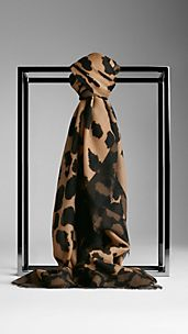 Animal Print Wool Silk Square