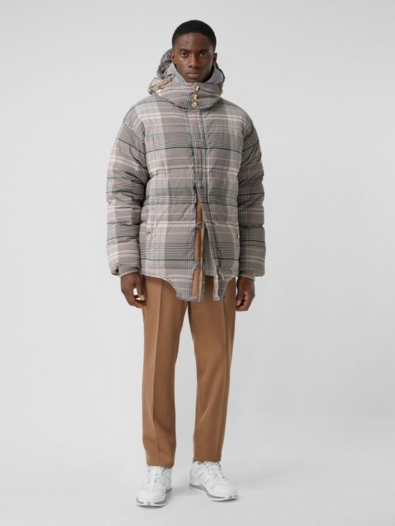 Cut-out Hem Check Nylon Twill Puffer Jacket in Beige