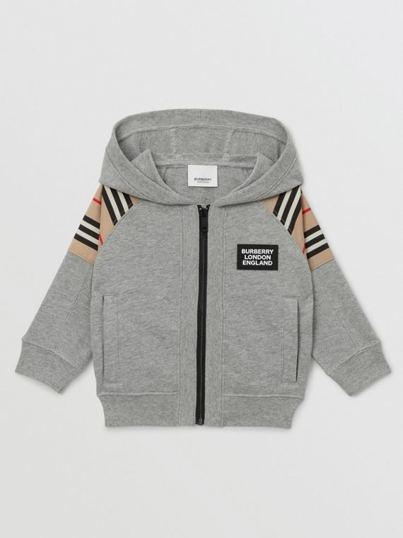 Icon Stripe Panel Cotton Hooded Top