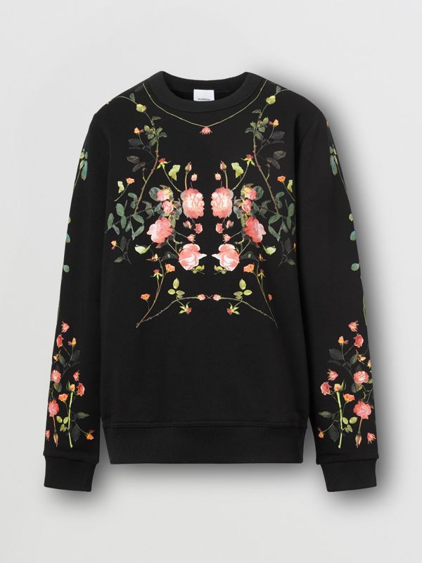 Rose Print Cotton Oversized Sweatshirt in Black - Women | Burberry - cell image 3
