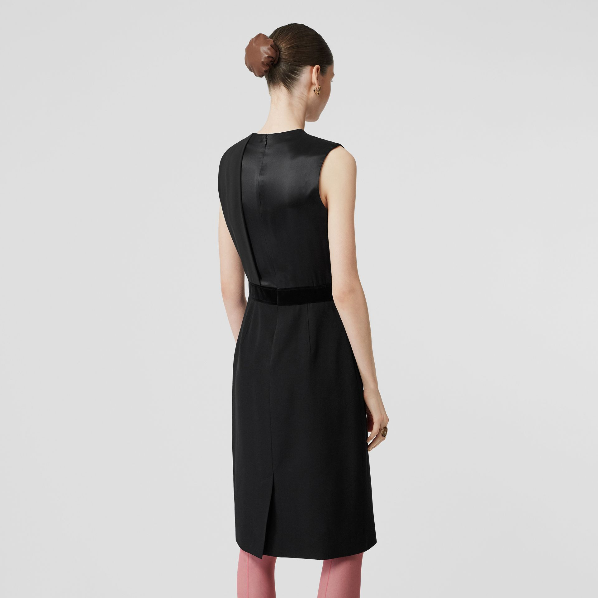 Panel Detail Silk and Wool Shift Dress in Black - Women | Burberry - gallery image 2