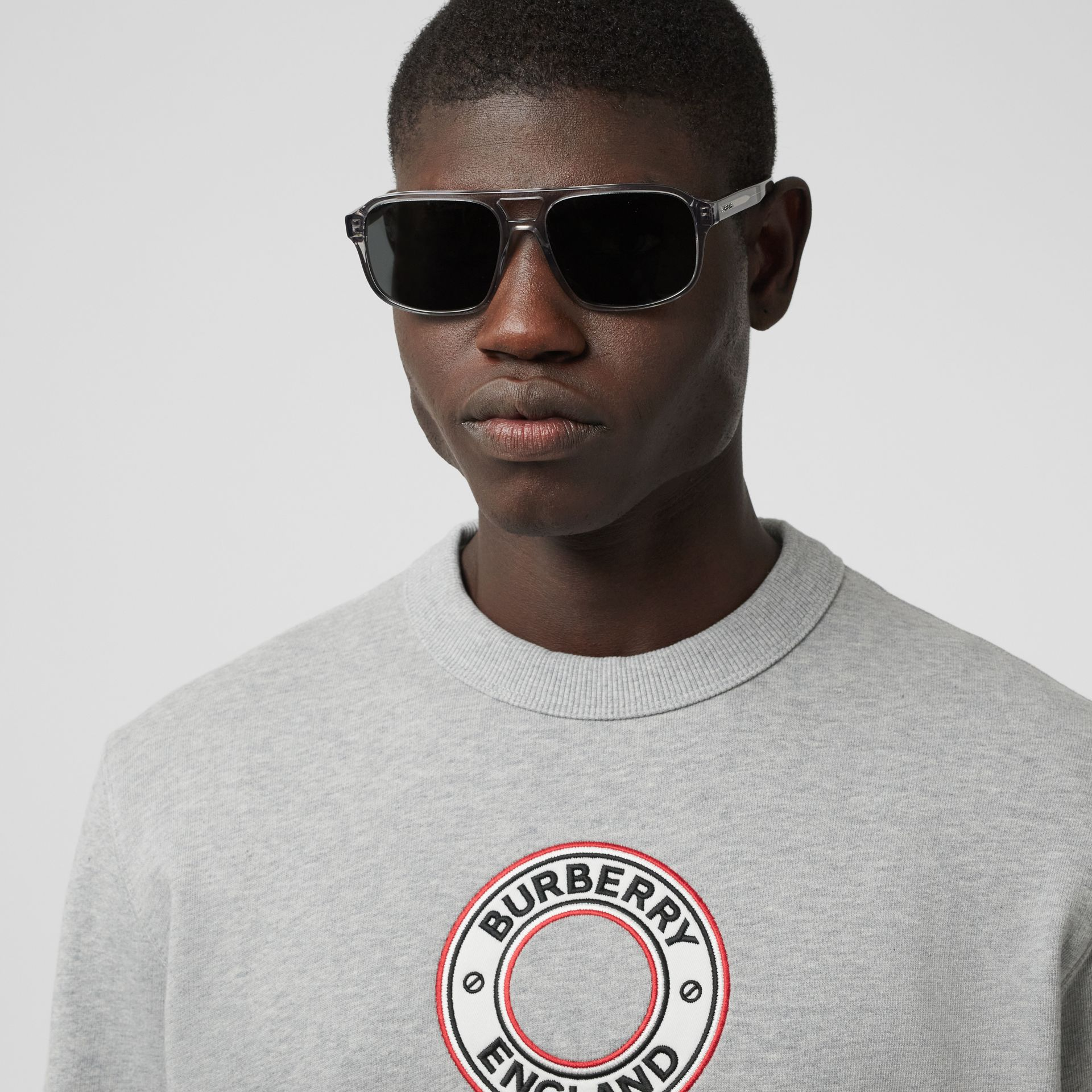 Logo Graphic Appliqué Cotton Sweatshirt in Pale Grey Melange - Men | Burberry - gallery image 1