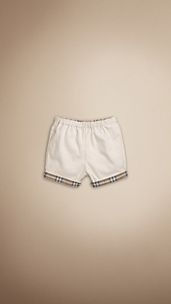 Short en coton à revers en check