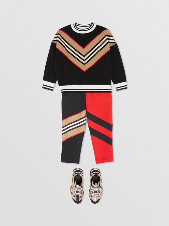 Icon Stripe Panel Wool Blend Sweater in Black