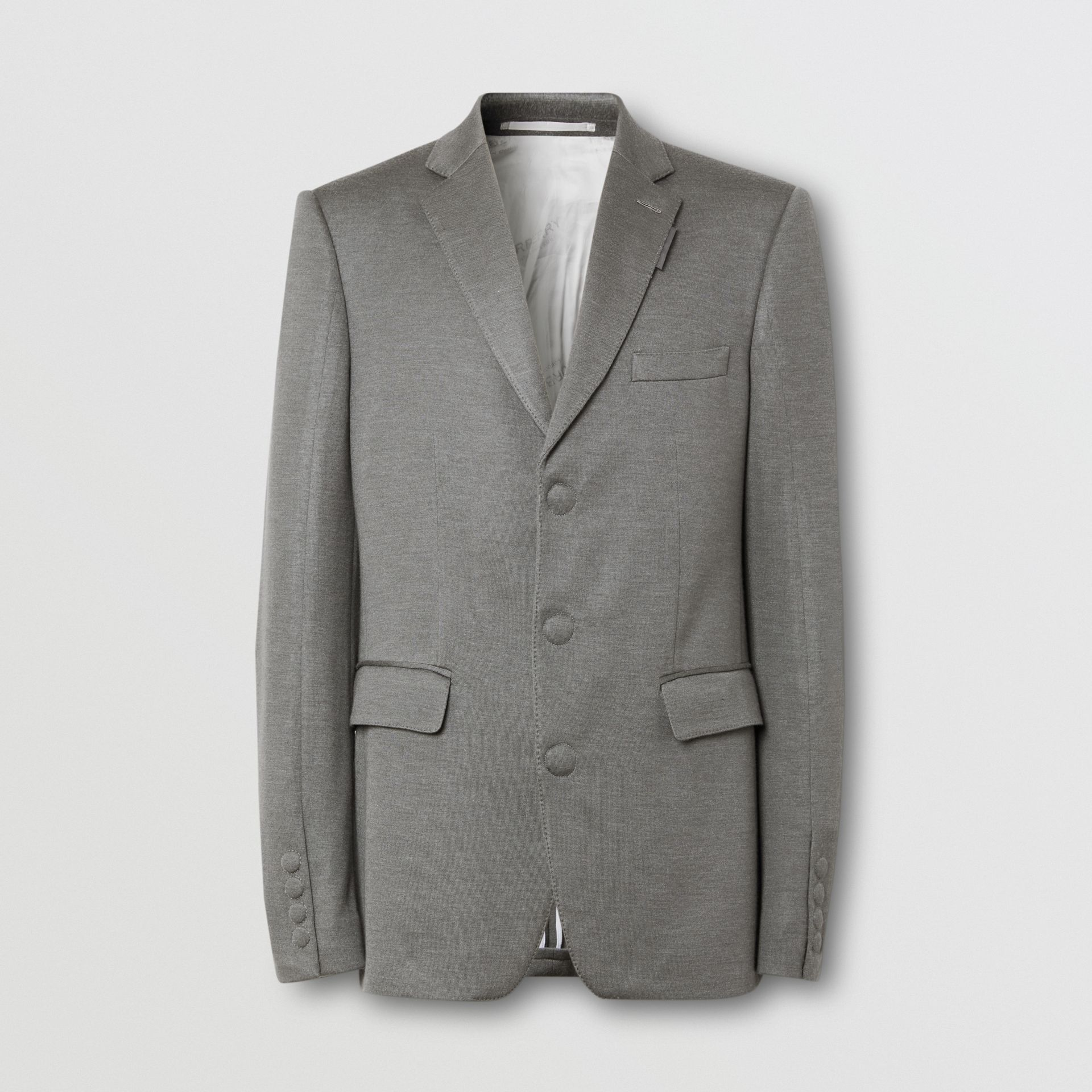 English Fit Cashmere Silk Jersey Tailored Jacket in Cloud Grey | Burberry - gallery image 3