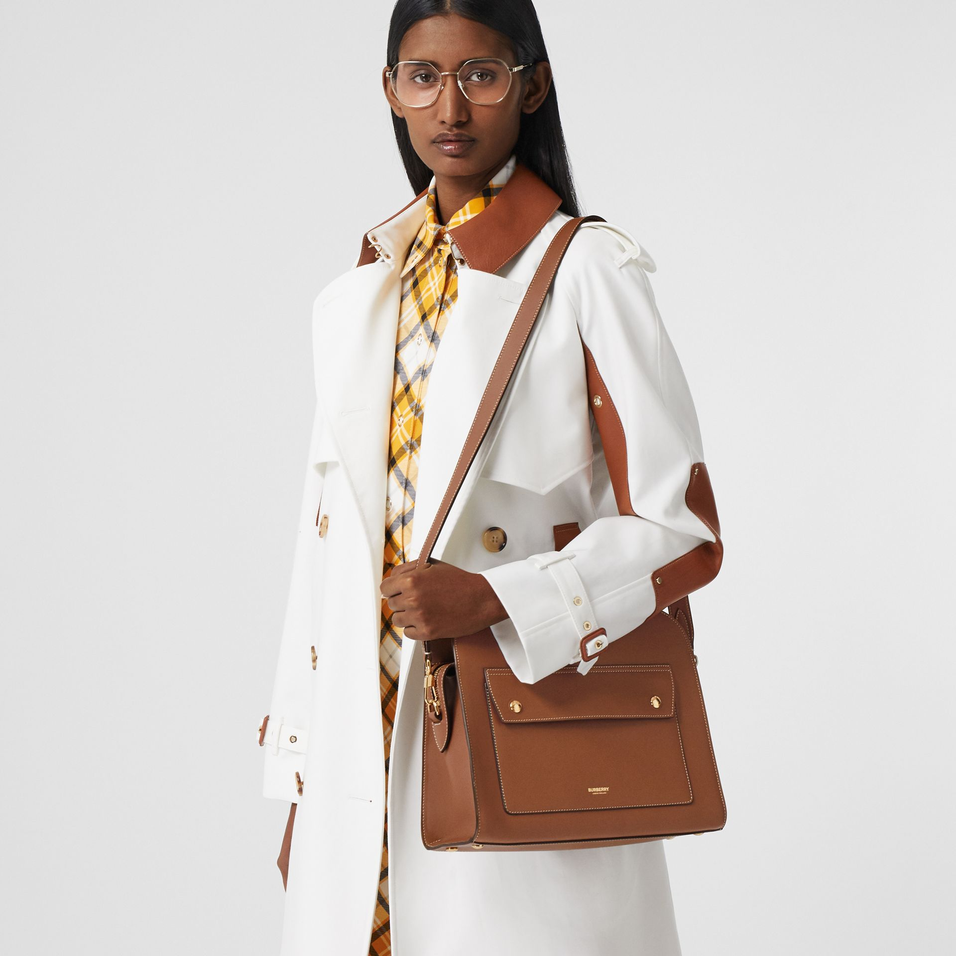 Small Topstitched Leather Pocket Tote in Malt Brown - Women | Burberry - gallery image 8