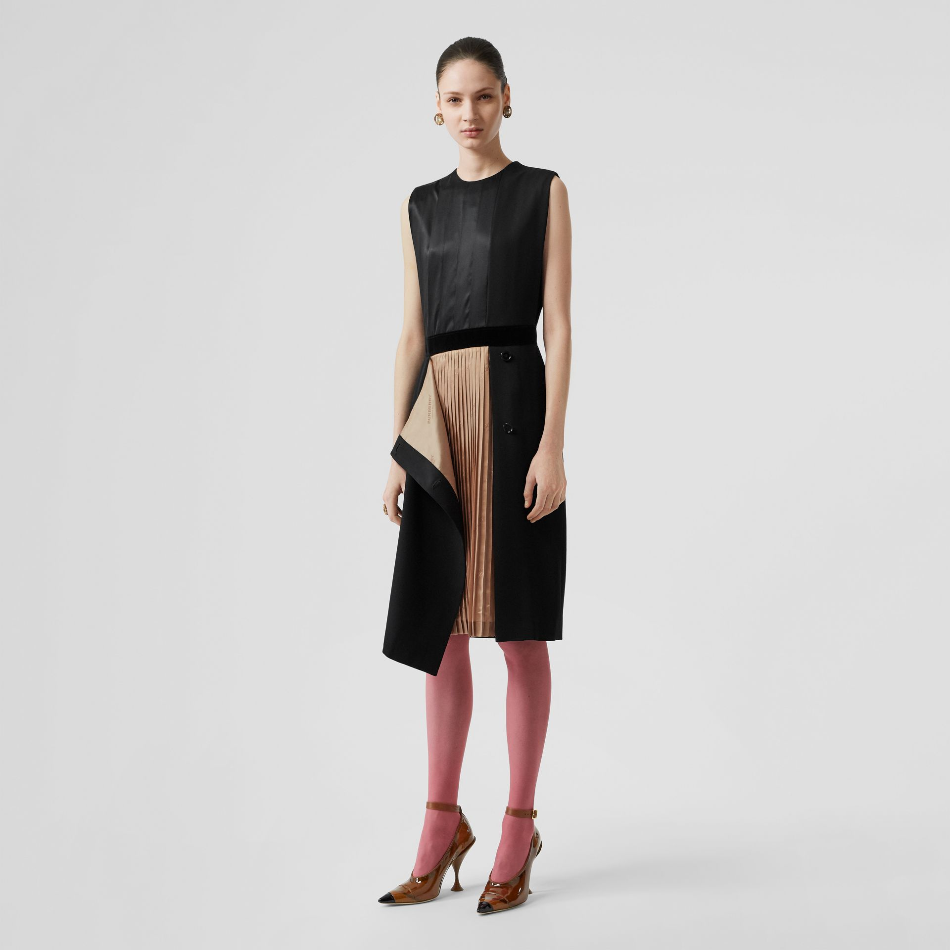 Panel Detail Silk and Wool Shift Dress in Black - Women | Burberry - gallery image 0