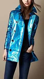 Metallic Laminated Cotton Trench Coat