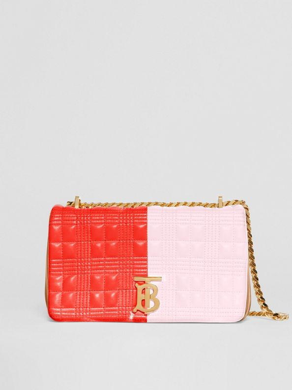 Small Quilted Tri-tone Lambskin Lola Bag in Red/pink/camel