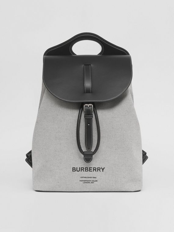 Horseferry Print Canvas and Leather Pocket Backpack in Black