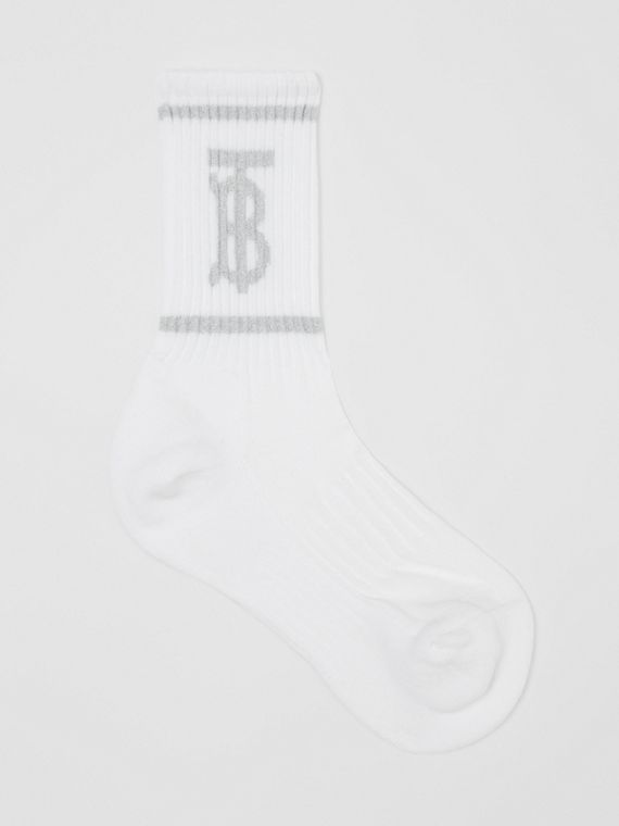 Metallic Monogram Motif Intarsia Socks in White