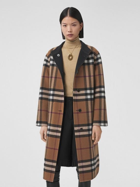 雙面兩穿格紋羊毛大衣 (樺木棕)