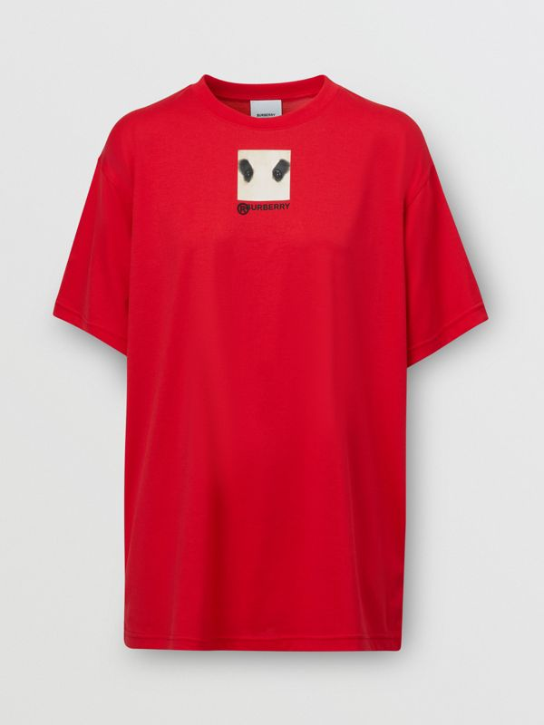 Montage Print Cotton Oversized T-shirt in Bright Red | Burberry United Kingdom - cell image 3