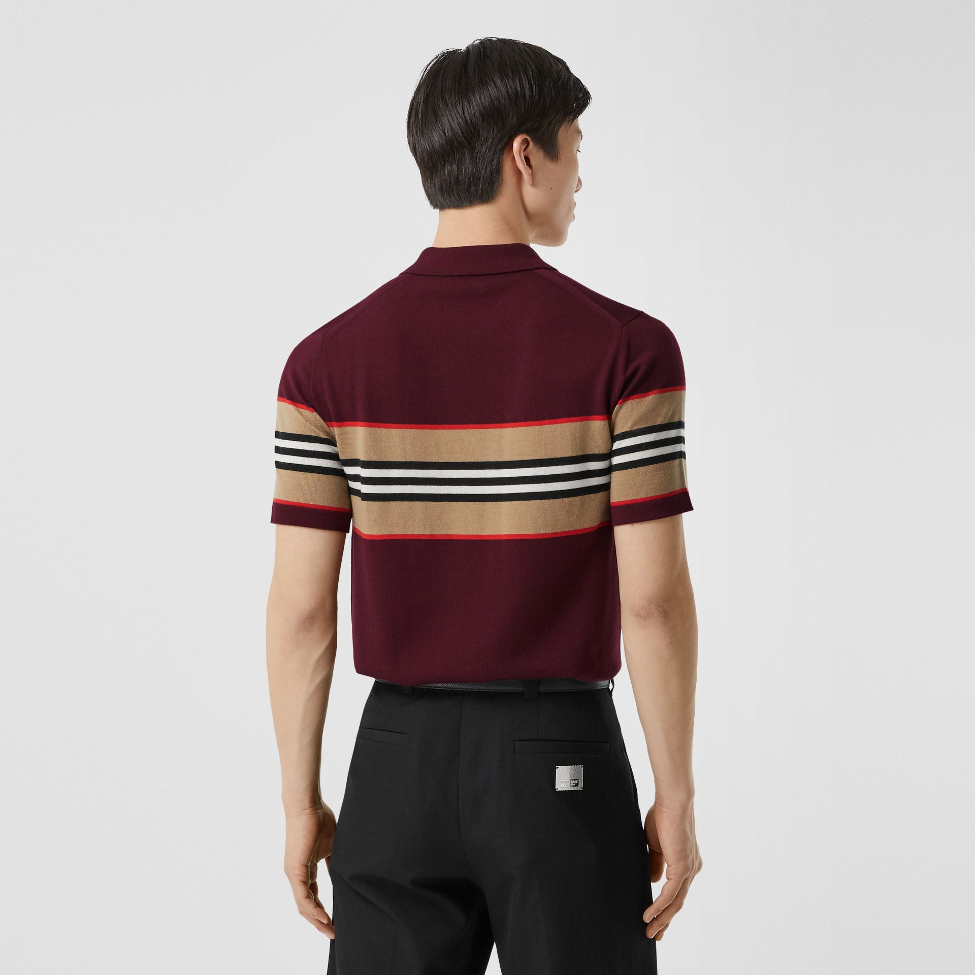 Icon Stripe Detail Merino Wool Polo Shirt in Deep Merlot - Men | Burberry - gallery image 2
