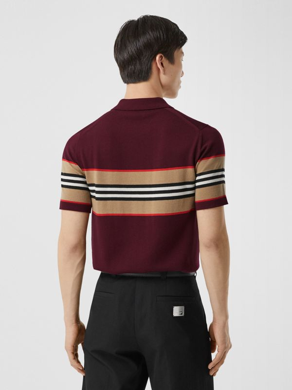 Icon Stripe Detail Merino Wool Polo Shirt in Deep Merlot - Men | Burberry - cell image 2