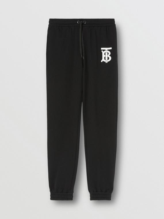 Pantalones de jogging en algodón con motivo de monograma (Negro)