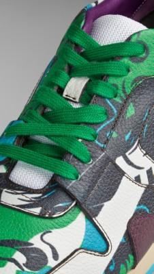 亮雪松绿 手绘书封皮革菲尔德运动鞋 - 图 6