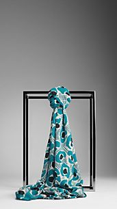 Animal Floral Print Silk Scarf
