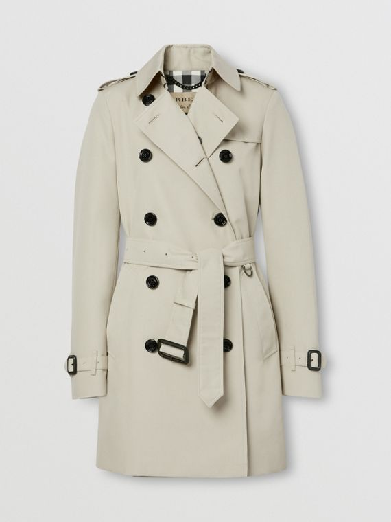Technical Cotton Trench Coat in Stone