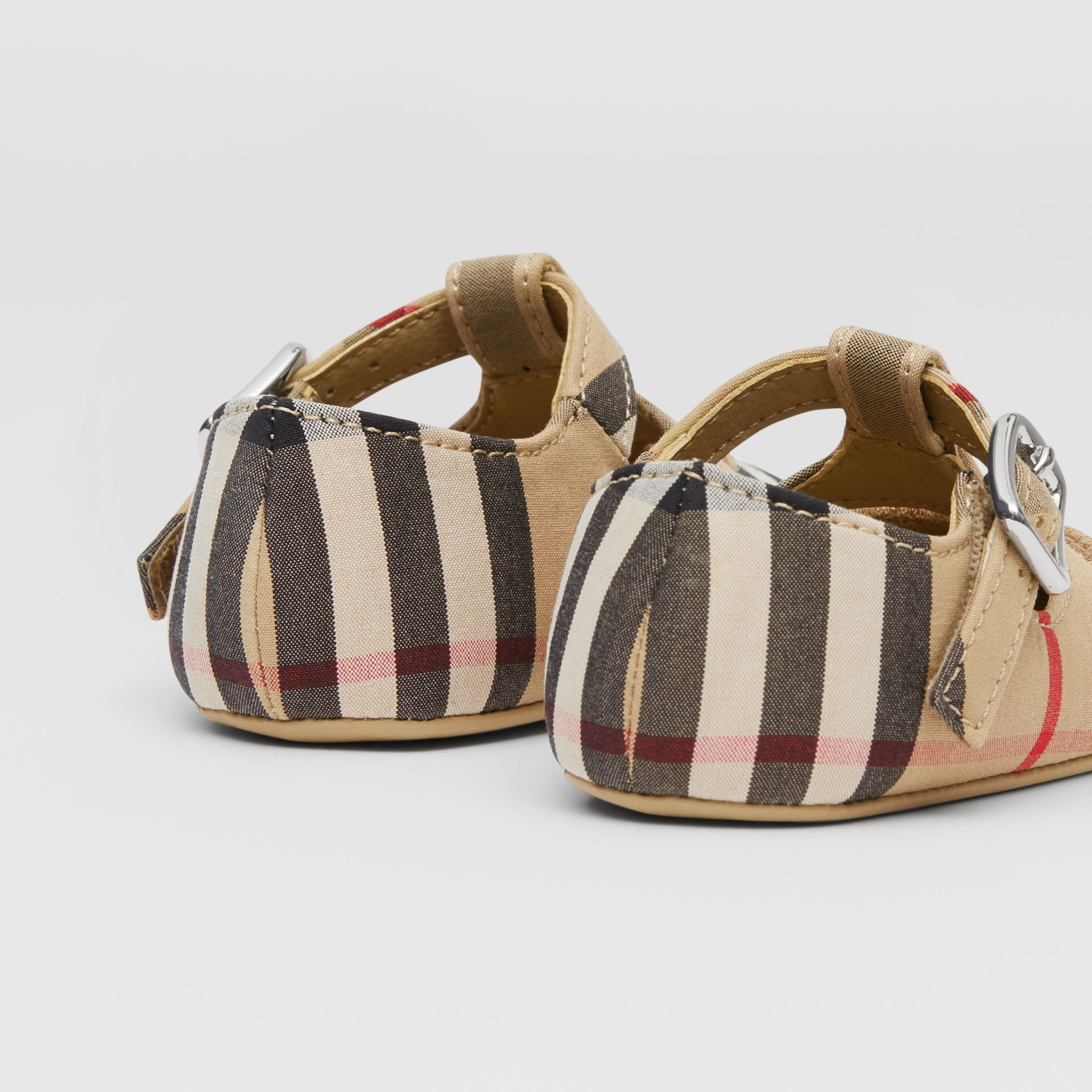 Vintage Check Cotton T-bar Shoes in Archive Beige - Children | Burberry United Kingdom - gallery image 1