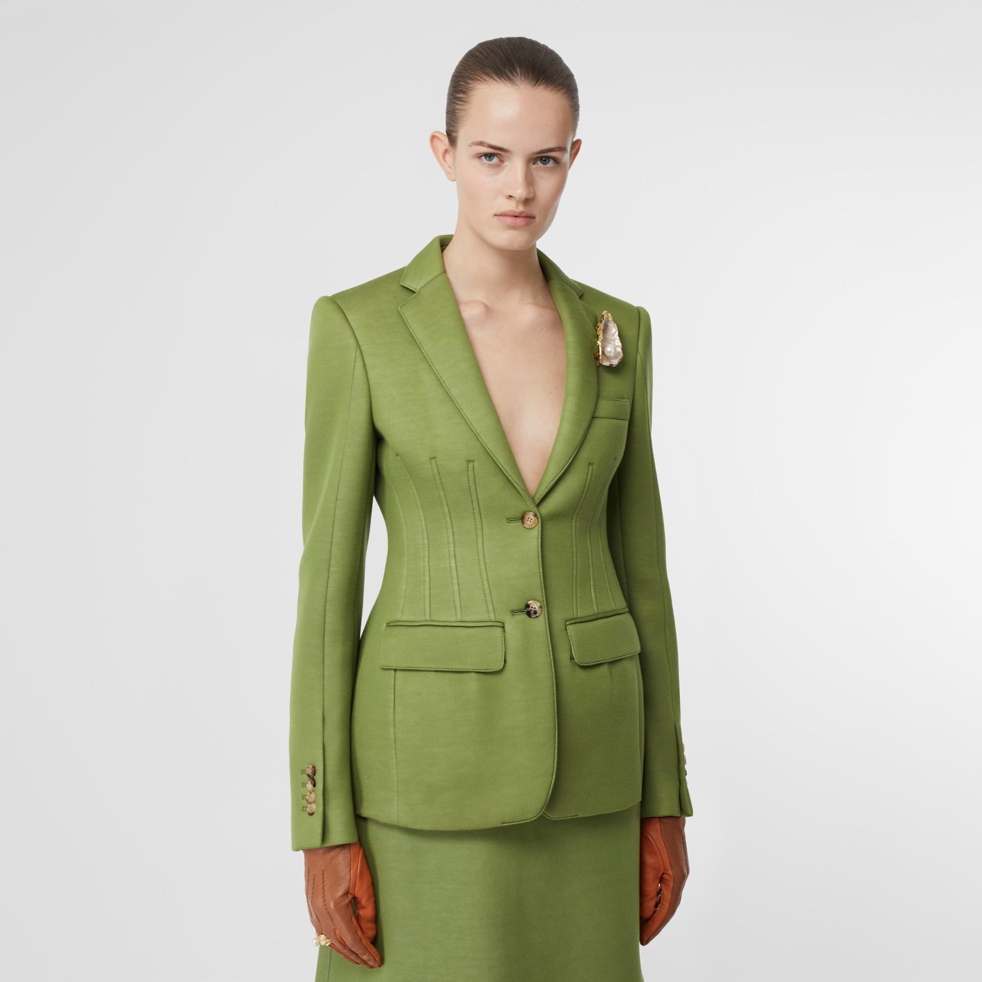 Double-faced Neoprene Tailored Jacket in Cedar Green - Women | Burberry - gallery image 4