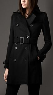 Trench coat de longitud media en lana y cachemir