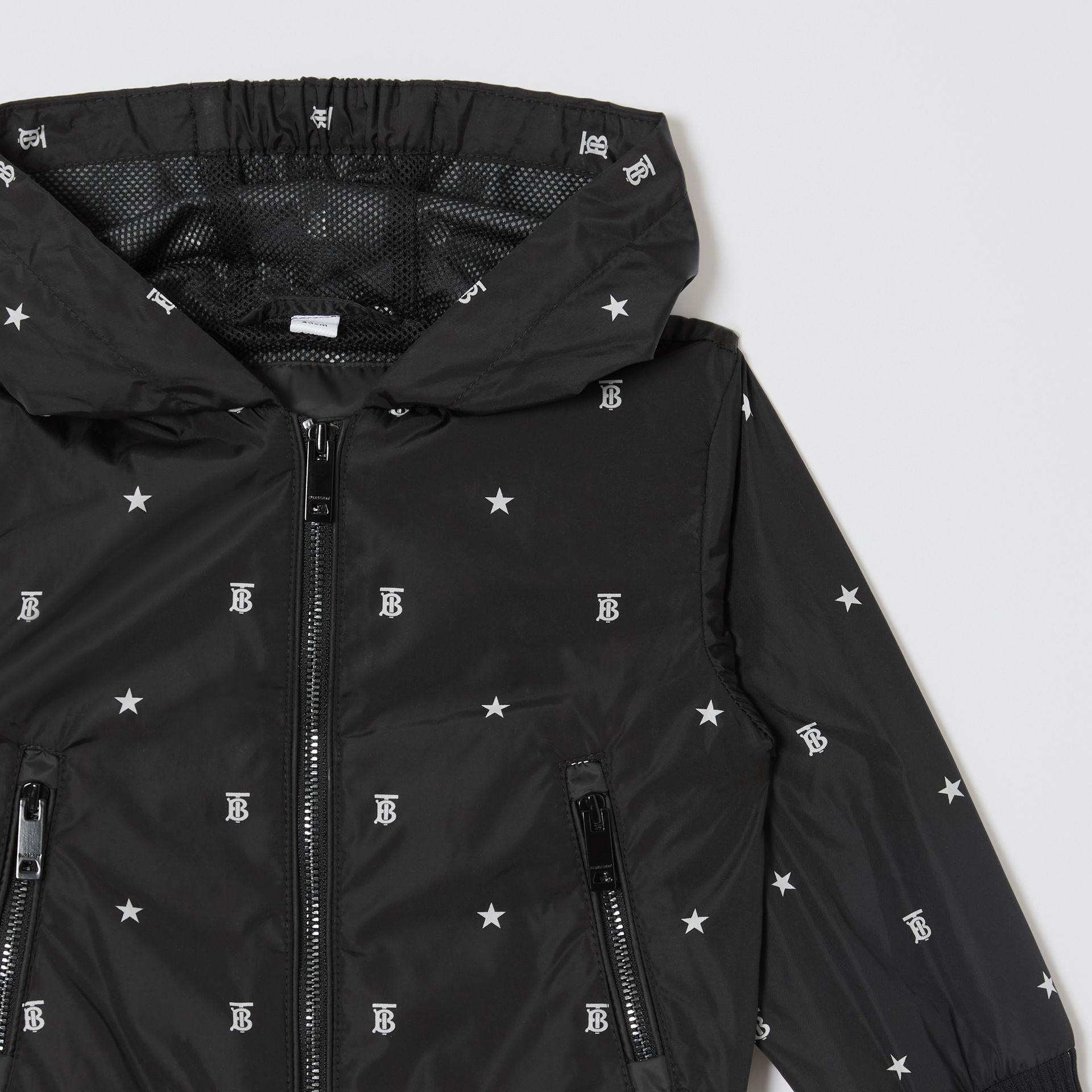 Star and Monogram Motif Lightweight Hooded Jacket in Black - Children | Burberry - gallery image 4