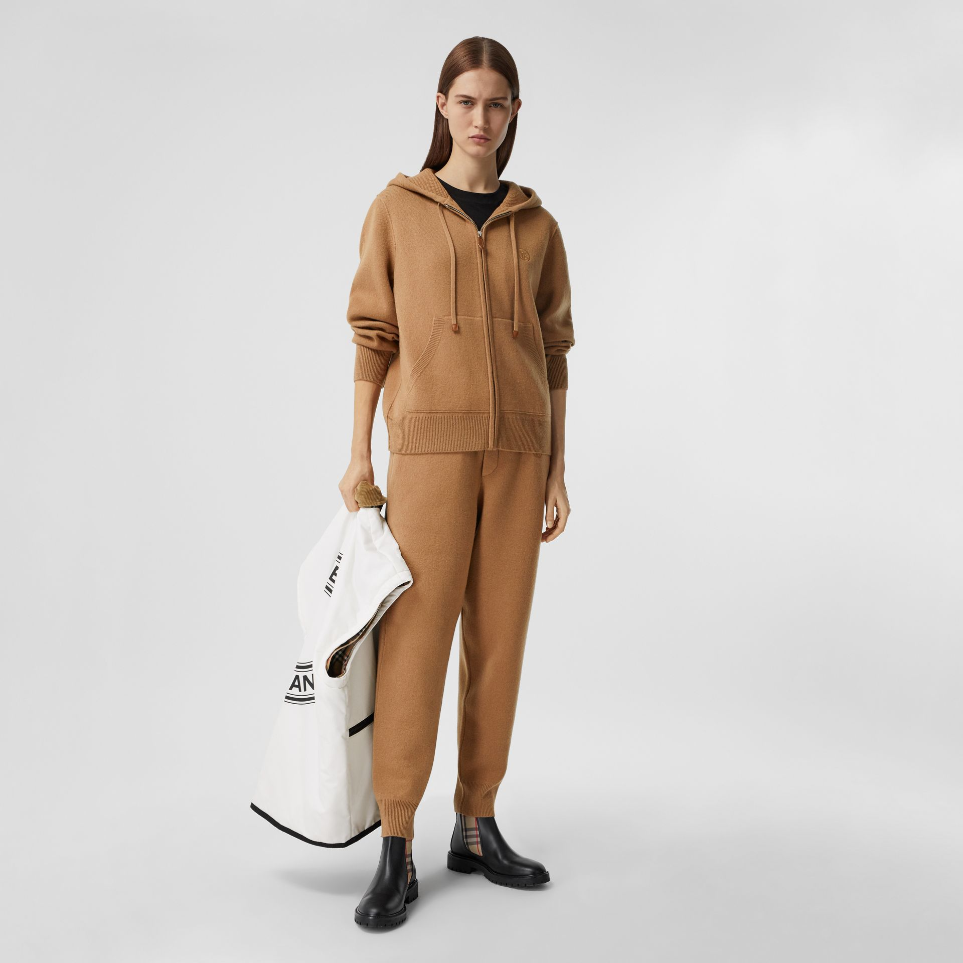 Monogram Motif Cashmere Blend Hooded Top in Camel - Women | Burberry - gallery image 0