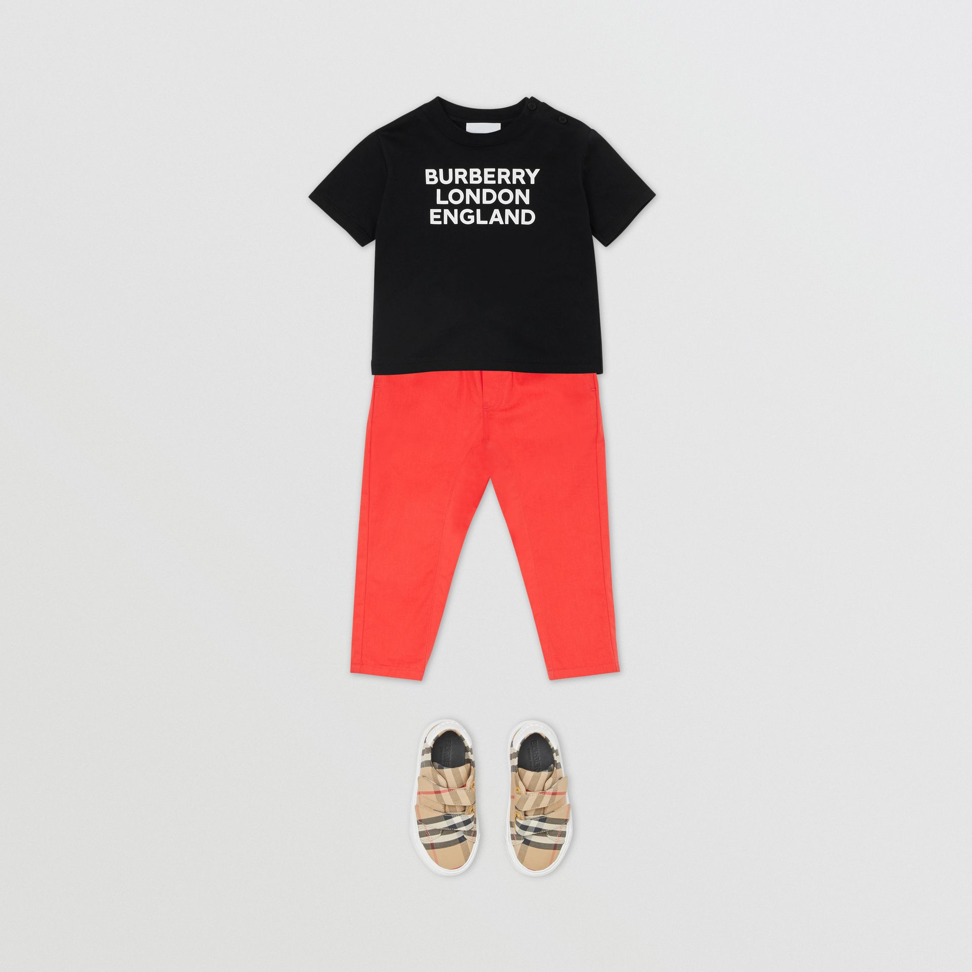 Logo Print Cotton T-shirt in Black - Children | Burberry - gallery image 2