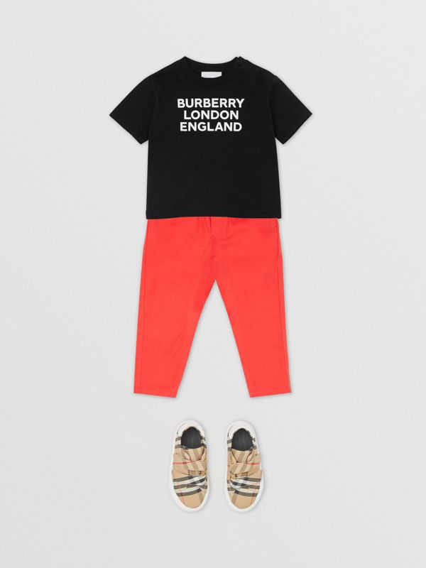 Logo Print Cotton T-shirt in Black - Children | Burberry - cell image 2