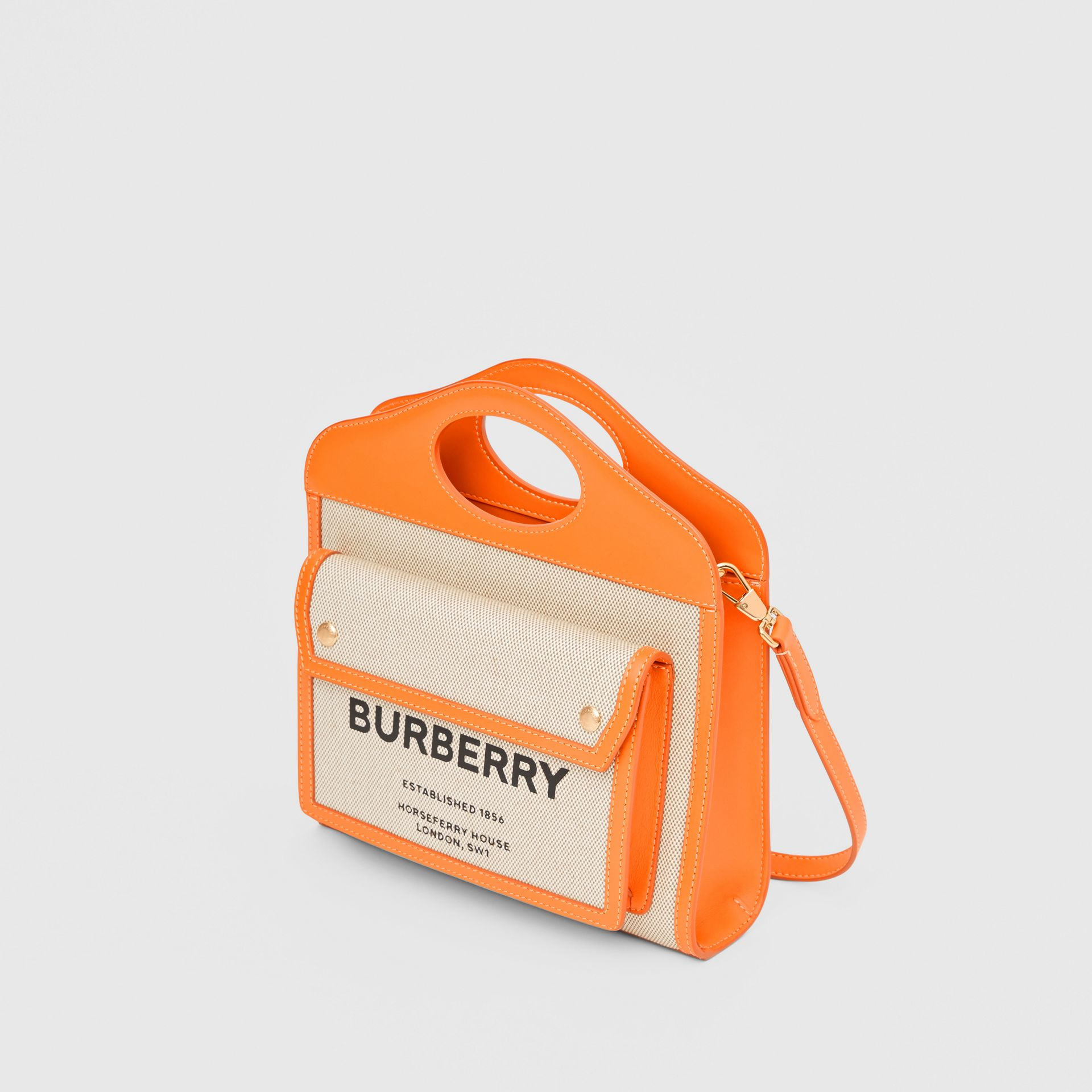 Mini Two-tone Canvas and Leather Pocket Bag in Orange - Women | Burberry - gallery image 3