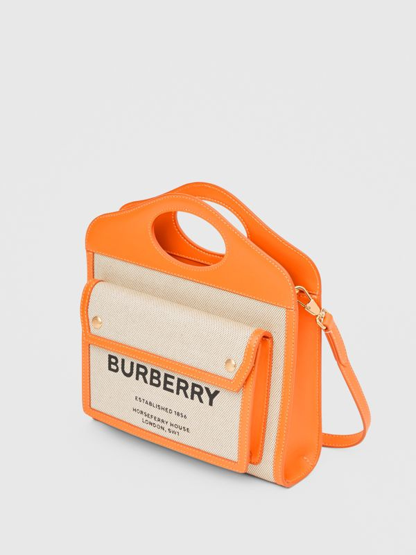 Mini Two-tone Canvas and Leather Pocket Bag in Orange - Women | Burberry - cell image 3