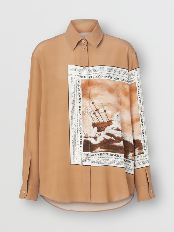 Mariner Print Silk Oversized Shirt in Bronze - Women | Burberry - cell image 3