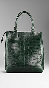 Large Alligator Leather Tote Bag