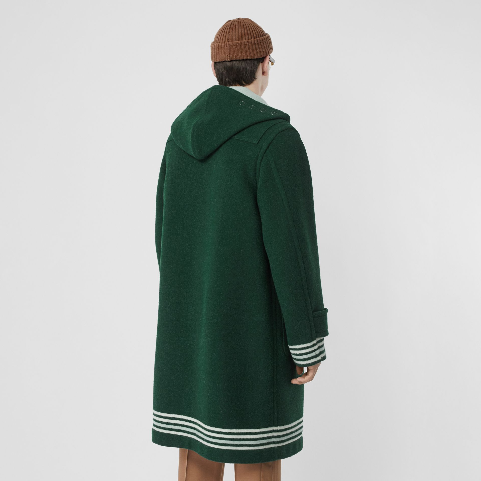 Stripe Detail Double-faced Wool Duffle Coat in Dark Pine Green - Men | Burberry United Kingdom - gallery image 2