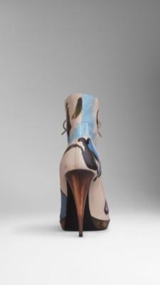 手绘皮革及踝靴