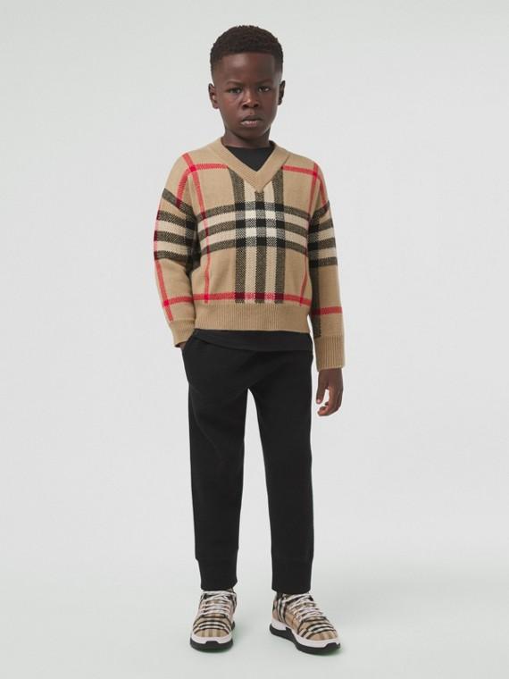 Suéter de lã e cashmere com estampa xadrez em intársia (Bege Clássico)