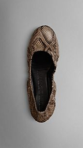 Python Leather Ballerinas
