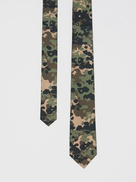 Classic Cut Camouflage Print Silk Tie in Khaki Green