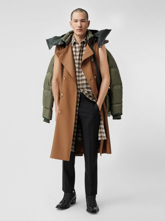 Sleeveless Wool Trench Coat with Detachable Puffer in Dark Walnut