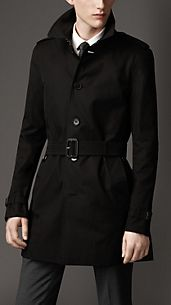 Trench-coat mi-long droit en gabardine de coton