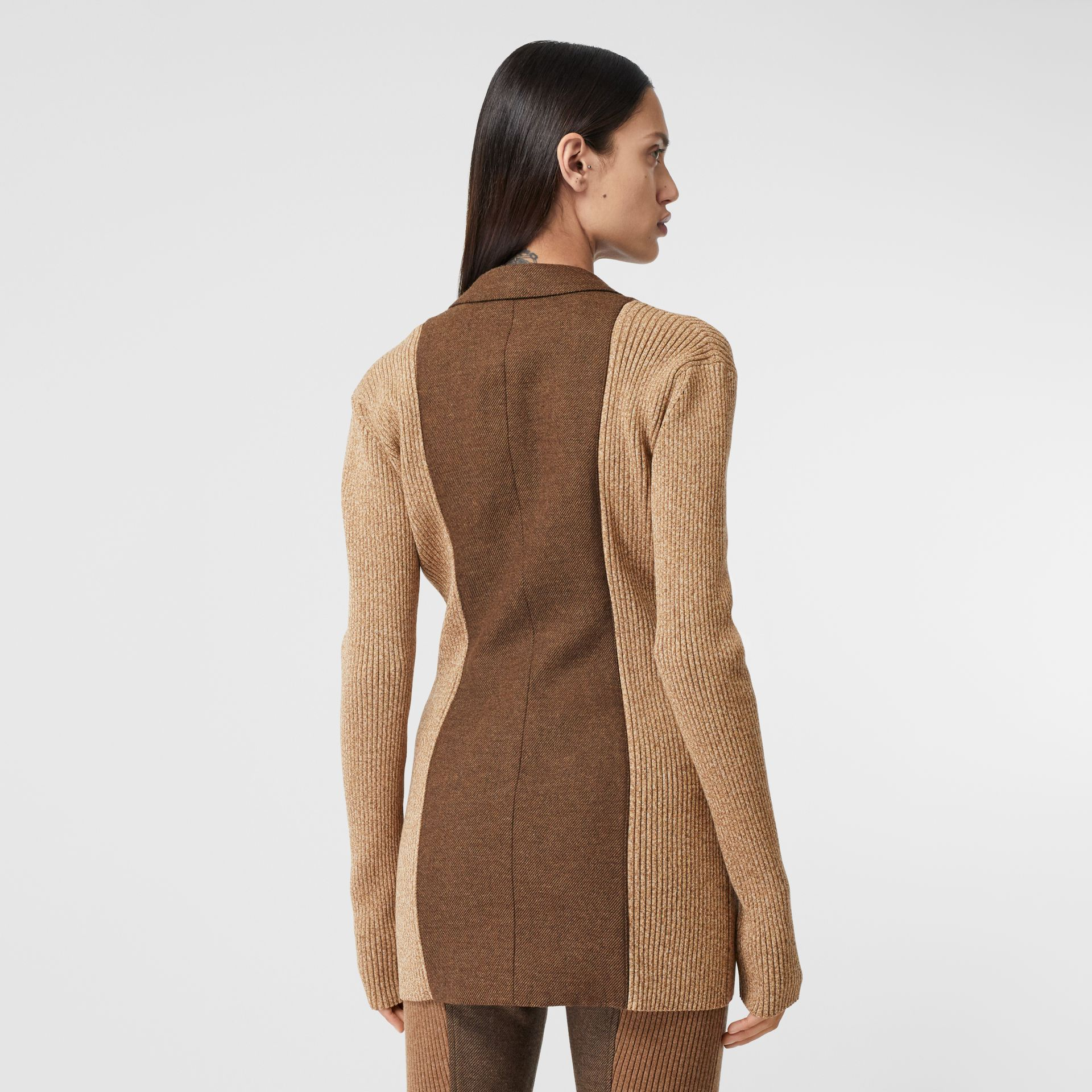 Rib Knit Panel Wool Cashmere Tailored Jacket in Dark Tan - Women | Burberry - gallery image 2