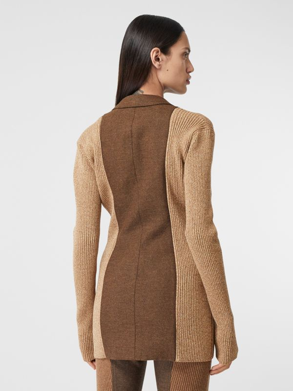 Rib Knit Panel Wool Cashmere Tailored Jacket in Dark Tan - Women | Burberry - cell image 2