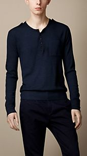 Engineered Rib Crêpe Wool Henley